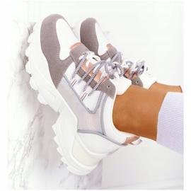 EVE Damskie Sneakersy Na Masywnej Podeszwie Białe Power szare 6