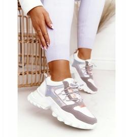 EVE Damskie Sneakersy Na Masywnej Podeszwie Białe Power szare 1