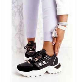 EVE Damskie Sneakersy Na Masywnej Podeszwie Czarne Power złoty 1