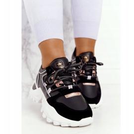 EVE Damskie Sneakersy Na Masywnej Podeszwie Czarne Power złoty 4