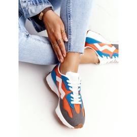 PS1 Damskie Sportowe Buty Sneakersy Pomarańczowe Move On białe niebieskie 6