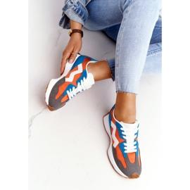 PS1 Damskie Sportowe Buty Sneakersy Pomarańczowe Move On białe niebieskie 1