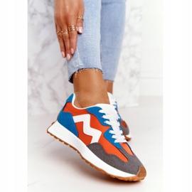 PS1 Damskie Sportowe Buty Sneakersy Pomarańczowe Move On białe niebieskie 2