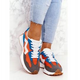 PS1 Damskie Sportowe Buty Sneakersy Pomarańczowe Move On białe niebieskie 3