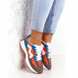 PS1 Damskie Sportowe Buty Sneakersy Pomarańczowe Move On białe niebieskie 4