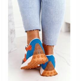 PS1 Damskie Sportowe Buty Sneakersy Pomarańczowe Move On białe niebieskie 5