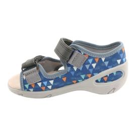 Befado obuwie dziecięce pu 065P158 niebieskie szare 2