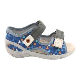 Befado obuwie dziecięce pu 065P158 niebieskie szare 1