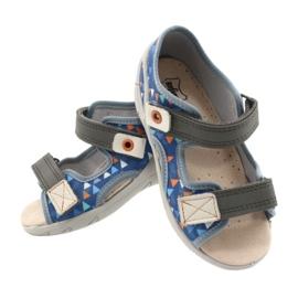 Befado obuwie dziecięce pu 065P158 niebieskie szare 5