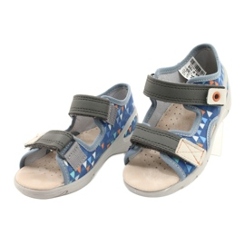 Befado obuwie dziecięce pu 065P158 niebieskie szare 3
