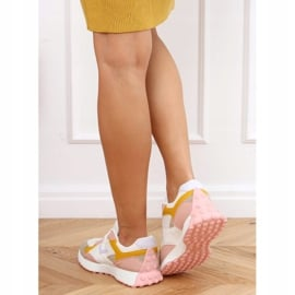 Buty sportowe wielokolorowe BL209P Pink białe różowe żółte 4