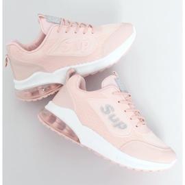 Buty sportowe damskie różowe BM-587 Pink srebrny 1