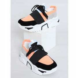 Buty sportowe na wysokiej podeszwie VL127 Black czarne różowe szare 1