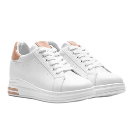 Białe sneakersy na ukrytym koturnie Halle beżowy 1
