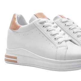 Białe sneakersy na ukrytym koturnie Halle beżowy 2