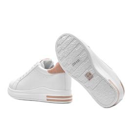 Białe sneakersy na ukrytym koturnie Halle beżowy 3