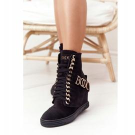 Damskie Zamszowe Sneakersy BOOCI 2222 Złote Litery Czarne 3