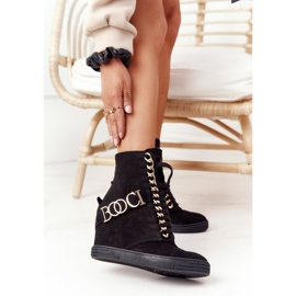 Damskie Zamszowe Sneakersy BOOCI 2222 Złote Litery Czarne 1