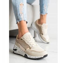 SHELOVET Złote Sneakersy Na Koturnie wielokolorowe złoty 4