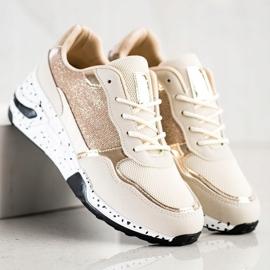 SHELOVET Złote Sneakersy Na Koturnie wielokolorowe złoty 2