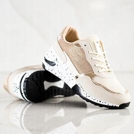 SHELOVET Złote Sneakersy Na Koturnie wielokolorowe złoty 3