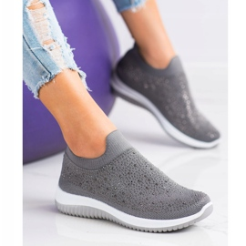 Renda Wsuwane Sneakersy Na Wiosnę szare 2