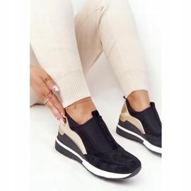 Sneakersy Na Koturnie Wsuwane Vinceza 10593 Czarno-Złote czarne zielone 3