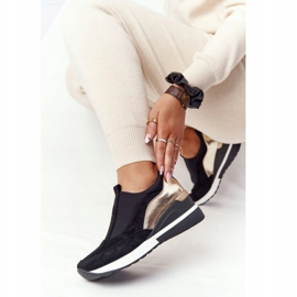 Sneakersy Na Koturnie Wsuwane Vinceza 10593 Czarno-Złote czarne zielone 4