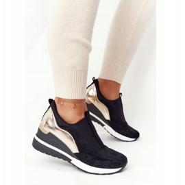 Sneakersy Na Koturnie Wsuwane Vinceza 10593 Czarno-Złote czarne zielone 6
