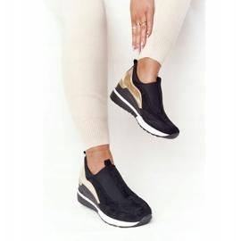 Sneakersy Na Koturnie Wsuwane Vinceza 10593 Czarno-Złote czarne zielone 1