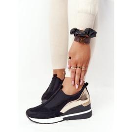 Sneakersy Na Koturnie Wsuwane Vinceza 10593 Czarno-Złote czarne zielone 5