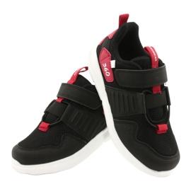 Buty sportowe wkładka skóra American Club AA06 czarny czarne czerwone 4
