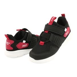 Buty sportowe wkładka skóra American Club AA06 czarny czarne czerwone 3