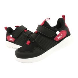 Buty sportowe wkładka skóra American Club AA06 czarny czarne czerwone 5