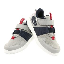 Buty sportowe wkładka skóra American Club AA06 czerwone granatowe szare 4