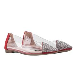 Czerwone baleriny transparentne Ariana bezbarwne srebrny 1