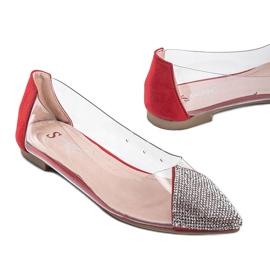 Czerwone baleriny transparentne Ariana bezbarwne srebrny 2
