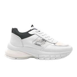 Biało-czarne sneakersy sportowe Dana białe 4