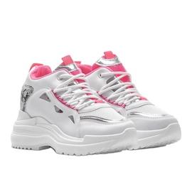 Biało różowe sneakersy snake Felicia białe 1