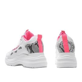 Biało różowe sneakersy snake Felicia białe 2