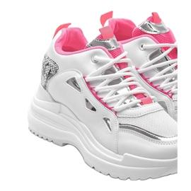 Biało różowe sneakersy snake Felicia białe 3