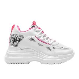 Biało różowe sneakersy snake Felicia białe 4
