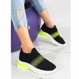SHELOVET Wiosenne Ażurowe Sneakersy czarne żółte 2
