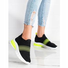 SHELOVET Wiosenne Ażurowe Sneakersy czarne żółte 3