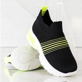 SHELOVET Wiosenne Ażurowe Sneakersy czarne żółte 1