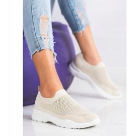 Ideal Shoes Wsuwane Buty Z Siateczką beżowy 1