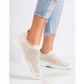 Ideal Shoes Wsuwane Buty Z Siateczką beżowy 2