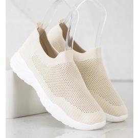 Ideal Shoes Wsuwane Buty Z Siateczką beżowy 3