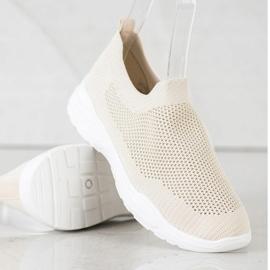 Ideal Shoes Wsuwane Buty Z Siateczką beżowy 4