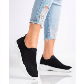 Ideal Shoes Wsuwane Buty Z Siateczką czarne 1